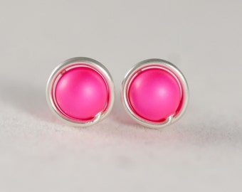 Hot Pink Earrings Neon Pink Earrings Wire Wrapped Jewelry Handmade Sterling Silver Jewelry Handmade Neon Pink Studs Hot Pink Studs