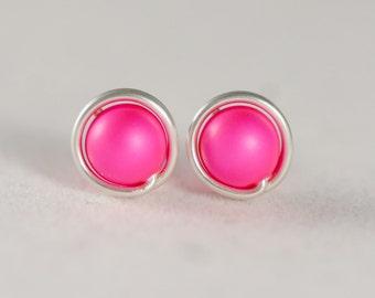 Hot Pink Earrings Neon Pink Earrings Wire Wrapped Jewelry Handmade Sterling Silver Jewelry Handmade Neon Pink Studs Hot Pink Studs