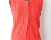 Vintage Sweater Vest / Red / Knit Cardigan / Sleeveless Top / Womens Clothing / Medium / 1960s 60s / Wintuk Chris Ann