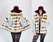 1980s Oversized Striped Fox Fur Boho Gypsy Gilet Vest