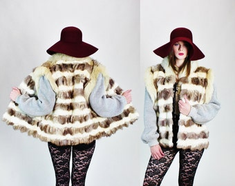 1980s Oversized Striped Fox Fur Boho Gypsy Gilet Vest