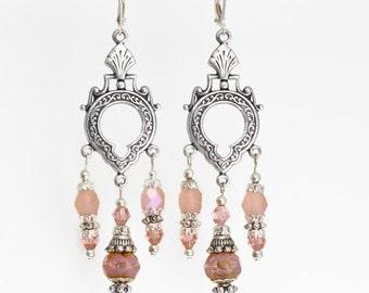 Czech glass and silver chandelier earrings