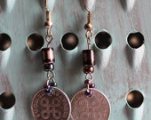 Genuine Coin Earrings, Finland 1 Penni, Suomi Coin Jewelry, four joined loops, ornate pattern