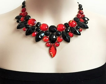 red and jet black bib rhinestone necklace, wedding, bridesmaids, prom necklace, gift or for you NEW