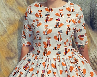 1950's Style Foxy Foxes Dress, Fox Print, Fantastic Mr Fox, Rockabilly Dress, Vintage Clothing, Vintage Dress, Retro Clothing, Retro Print