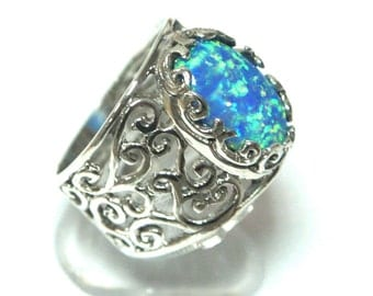 Women's Vintage Handcrafted 925 Sterling Silver Ring Blue Fire Opal Size 5 6 7 8 9, silver opal ring, fire opal jewelry, antique silver ring
