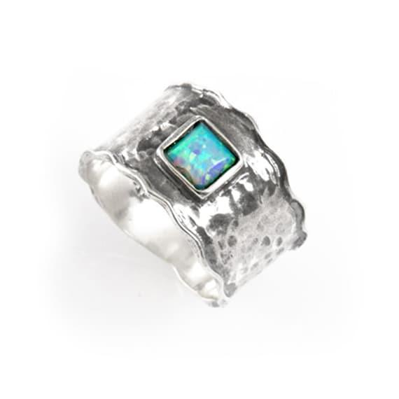 Beautiful 925 Sterling Silver Fire Blue Opal Stone Ring Band Art Womens Fashion, silver gemstone band, silver opal ring, blue opal jewelry