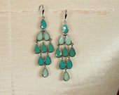 RESERVED FOR SPRUCEDROOST**Vintage 80' Silver Aqua Earrings Turquoise Green Teal Sea foam teardrop enamel dangle hook earrings Gorgeous!!!
