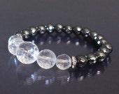 Transparent sparkle bracelet Quartz crystal bracelet mala April birthstone bracelet Yoga bracelet Hematite, clear quartz bracelet Meditation