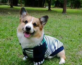 Corgi Breton stripe style cotton jumper Navy & white Sailor stripe pet sweatshirt  Medium breed dog tee shirt ( Medium - large Corgi コーギー)