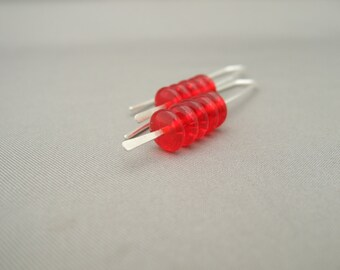 Shiny Red Stacked Czech Glass & Sterling Silver Earrings