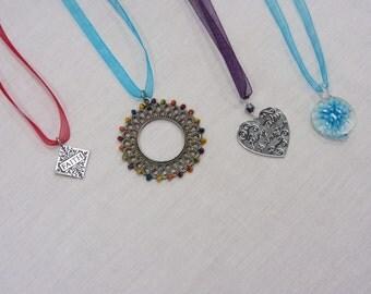SALE: Mulit-Colored Organiza Ribbon Necklaces