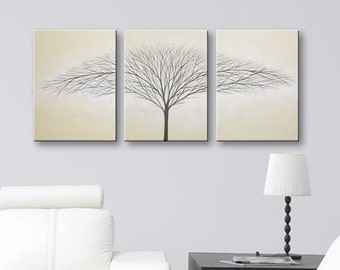 Wall Art Painting Canvas Art Tree Of Life Wall Decor Wall Art Wall Hangings Tree Artwork Home Decor Light Tan Beige 36x16