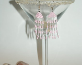 Pink and Clear Dangle Earrings