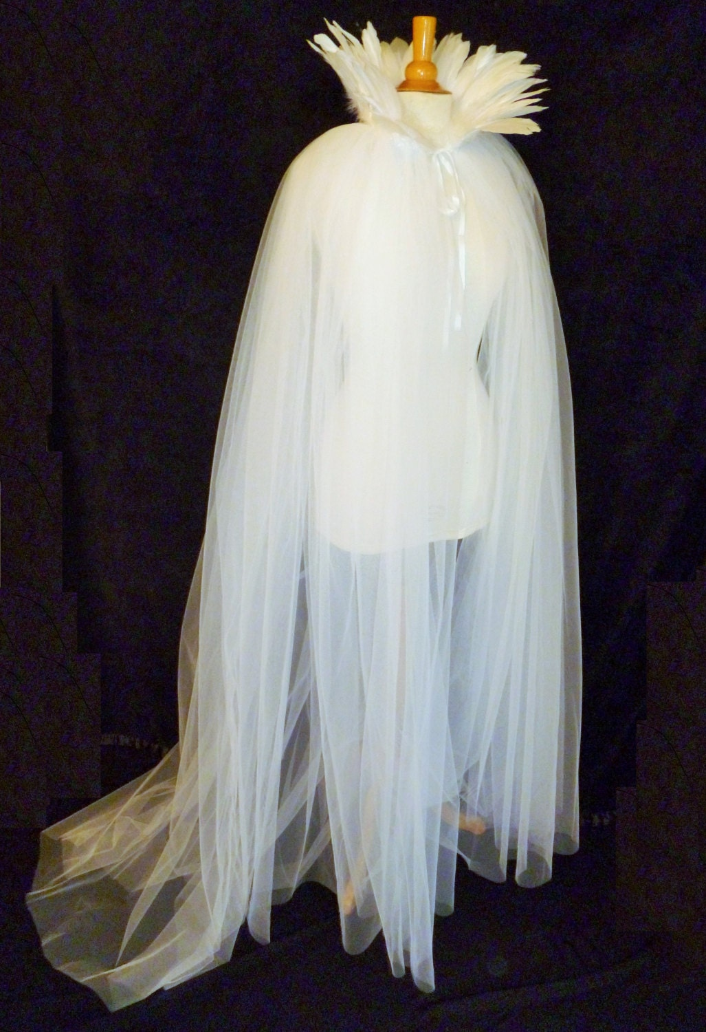 White Net Tulle Cape With Train Amp High Neck Feather Collar