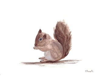 Baby squirrel original watercolour painting, squirrel watercolour woodland animal nursery art unique gift 12 x 9 inch
