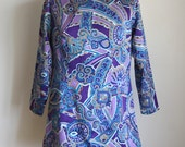 60s Psychedelic Tunic / Pucci-Esque Top / 1960s Top or Dress / Twiggy Tunic