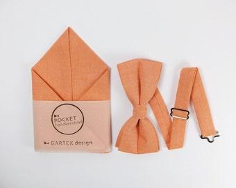 Orange Bow Tie Orange Pocket Square Set Bow Tie Pocket Square Pocket Handkerchief Peach Bow Tie Peach Pocket Square Bow Tie for Men Cotton