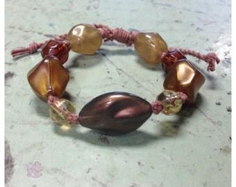 SALE // Brown Hemp Brown Bead Bracelet Adjustable Beaded Bracelet