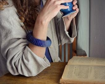Woolen bangle bracelet/ blue ombre modern crochet jewelry/ neo tribal