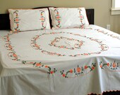 Floral flat bed sheet with 2 pillow covers: Orange green full hand embroidry on off-white high quality cotton base