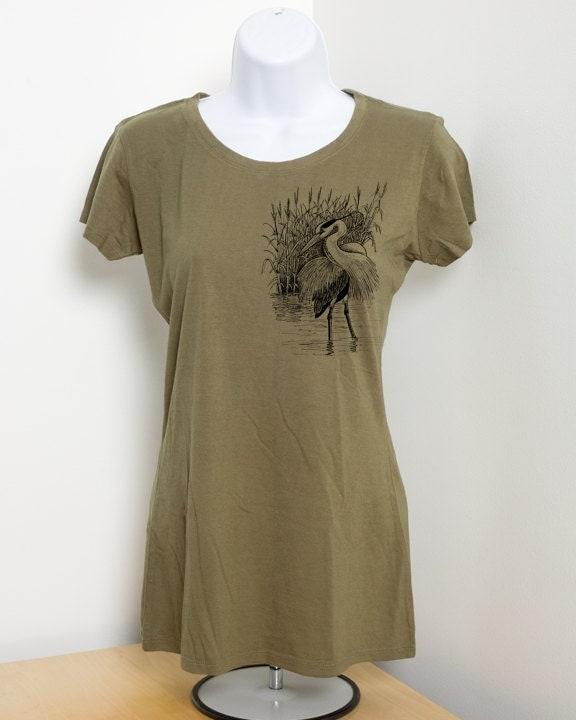 Great Blue Heron Ladies Organic Bamboo T Shirt Organic Cotton