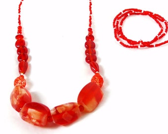 Strawberry Cheesecake Beaded Necklace Set