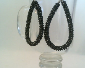 Gray Beaded Hoop Earrings.Beaded Spiral Hoop Earrings.
