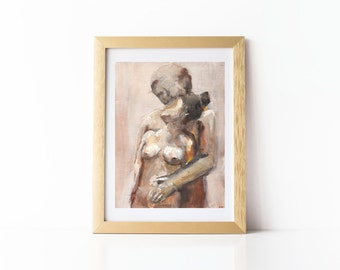 Nude Couple Painting Art Print, 8 x 10 inches, giclee art print, thepaintedgrove