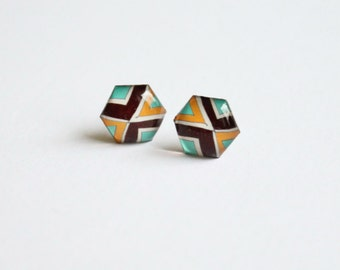 Hexagon earrings, hexagon studs, hexagon stud earrings, hexagon posts, geometric earrings, geometric stud earrings, geometric posts, brown