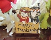 SALE Vintage Happy Thanksgiving American Indian characters brooch pin, fall fashion, smiling kids, sign happy thanksgiving, fall harvest