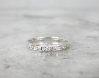 Vintage Diamond And White Gold Channel Set Band 4RVY4P-N