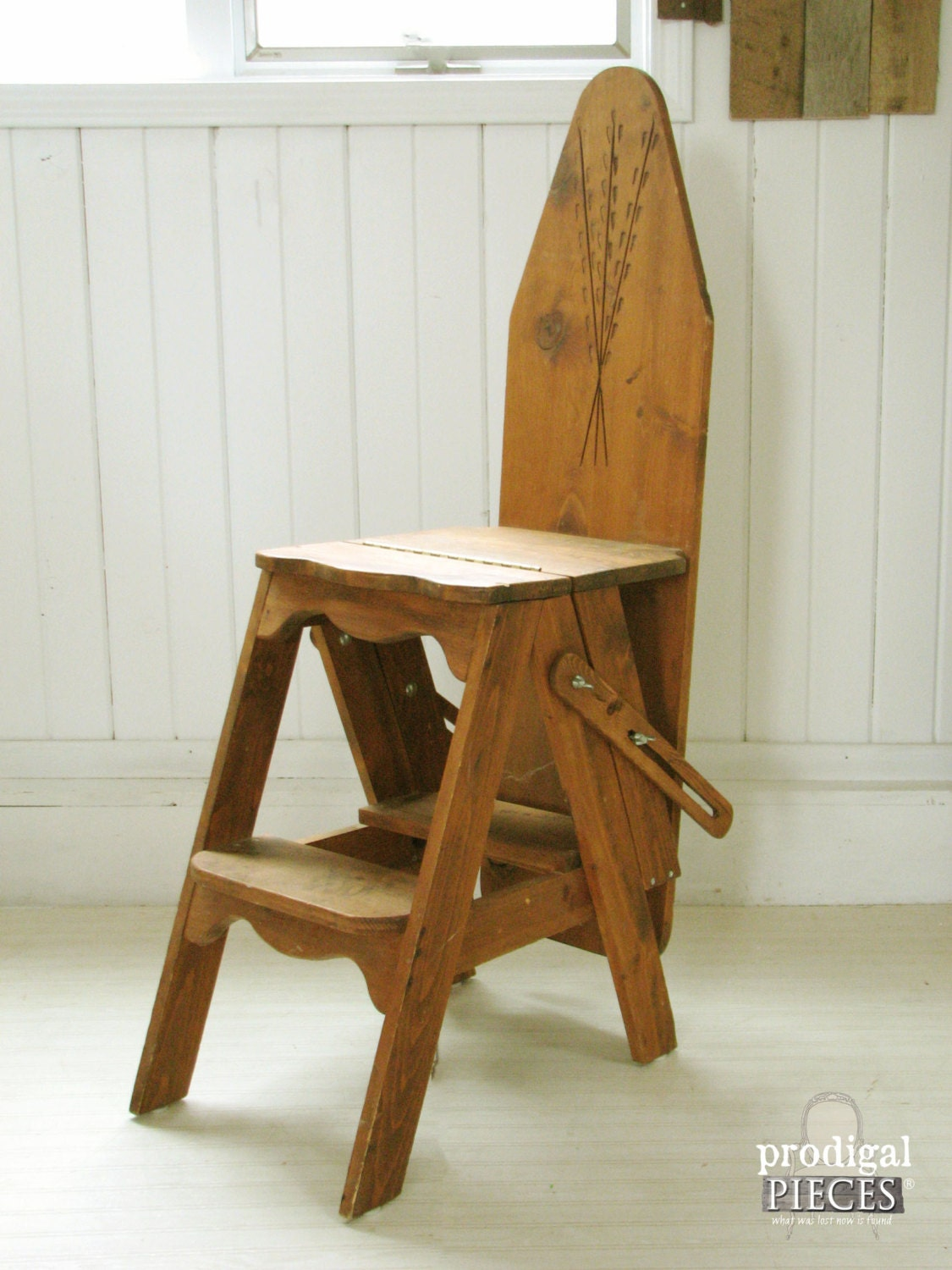 Hand Carved Rustic Unique Folding Ironing Board Chair Step