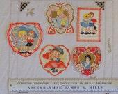 Antique Valentine Card Collection- 5 Depression Era Children's Valentines- Die Cut Valentine Day Greeting Card Miniatures- Scrapbook Supply