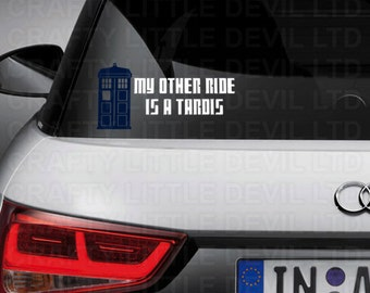My Other Ride is a Tardis Decal (Blue & White)
