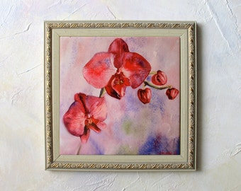 Orchid Painting Orchid Watercolor Hand Painted Ceramic Tile Orchid Wall Art Sublimation Tile Home Decor flower painting Vinous Pink orchid