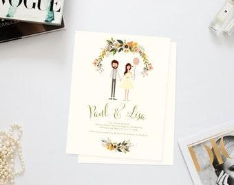 Playful Couple Wedding Invites /// Illustrated Couples Portrait