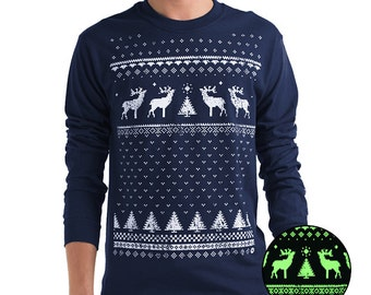 Glow In The Dark Reindeer Christmas Jumper Style Ugly Sweater Xmas Holidays Long Sleeved T-Shirt - Navy
