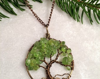 Relaxing Breeze Peridot Tree Of Life Necklace Pendant Brown Chain and Wire Wrapped Tree Gemstone Jewelry August Birthstone Jewelry