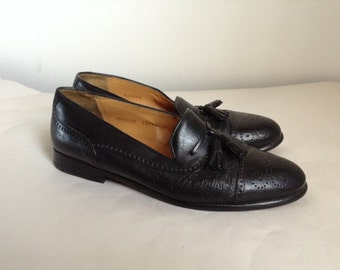 8.5 - Mezlan Black Leather Tassel Loafers With Medallion Caps
