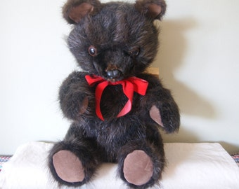 Vintage Stuffed, Fur Teddy Bear, Basu Enterprises, Collectible Bears, Recycled Fur Coats, Beaver, Handcrafted, Moveable Arms and Legs