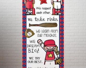 BASEBALL - Banner / Large / In Our Class / red