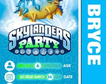 Skylanders Pop Thorn, Knight Light, Snap Shot, Dark Light: Personalized and Printable Birthday Party Invitation