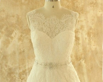 Ivory A line lace wedding dress,bridal gown with elegant beading sash