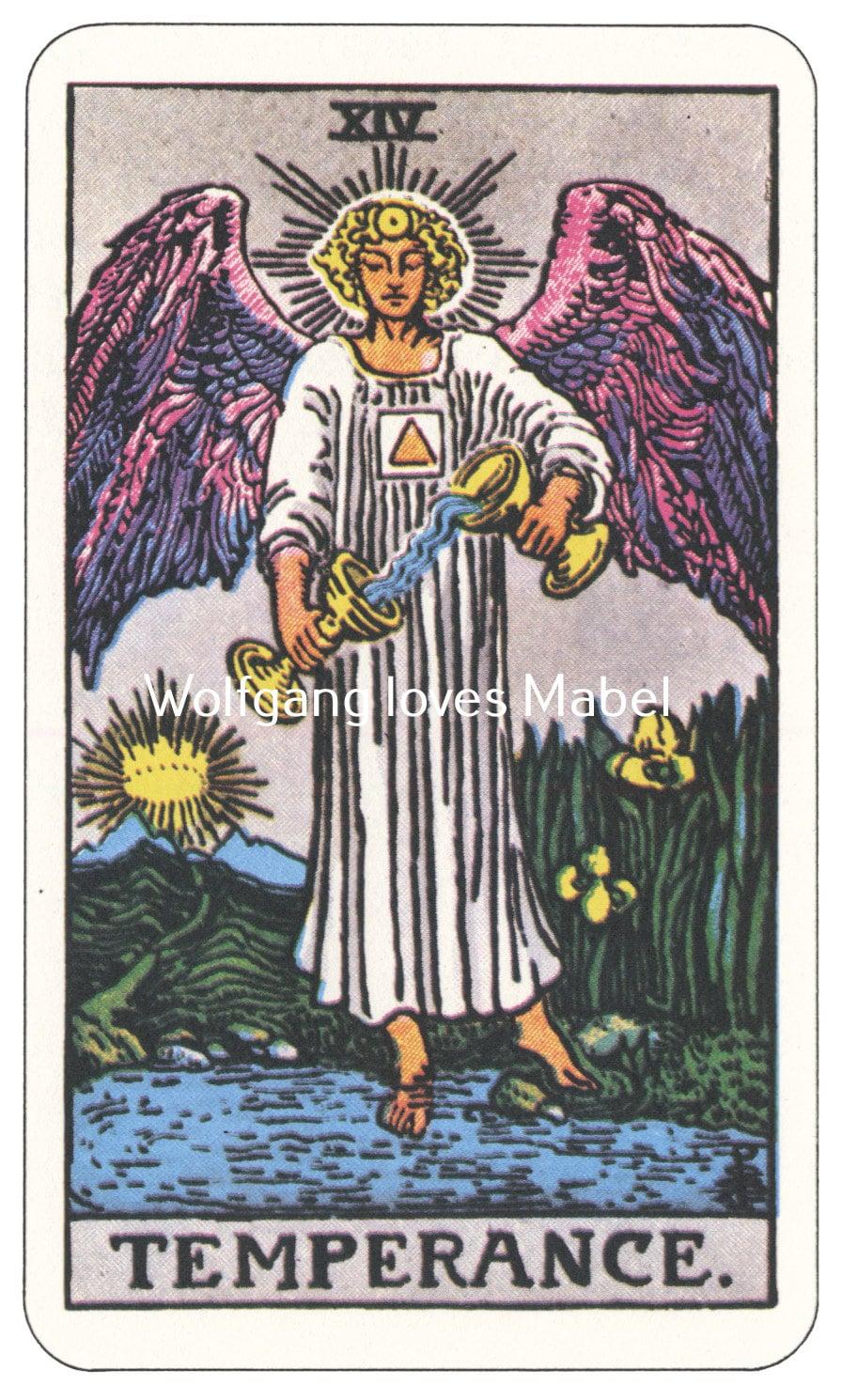 Xiv Temperance Balance Archangel Zadkiel: Temperance XIV Rider-Waite-Smith Tarot Card By
