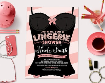 BURLESQUE Custom Printable Lingerie Shower Invitation Card
