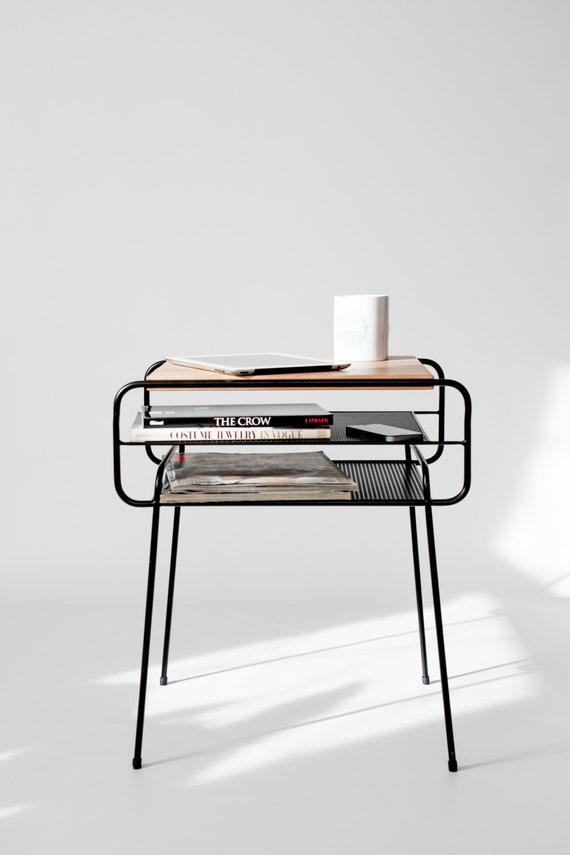 nachttisch nachtkonsole nacht schwarz lackiertes eisen und. Black Bedroom Furniture Sets. Home Design Ideas