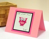 Who Loves You Valentine's Day Cute Owl Card with envelope