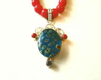Blue Millefiori Necklace, Millefiori Pendant and Red Coral Glass Bead Necklace