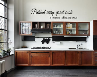 Behind Every great cook vinyl wall decal wall quote vinyl lettering Kitchen dining wall decal behind every great cook is